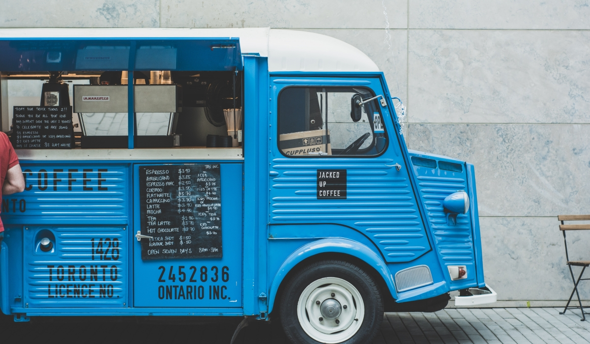 Blue coffee van
